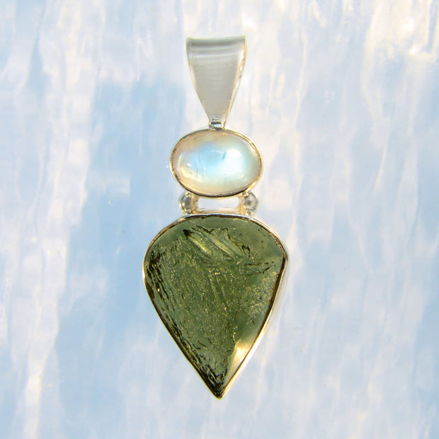 Rainbow Moonstone & Genuine Czech Moldavite Pendant