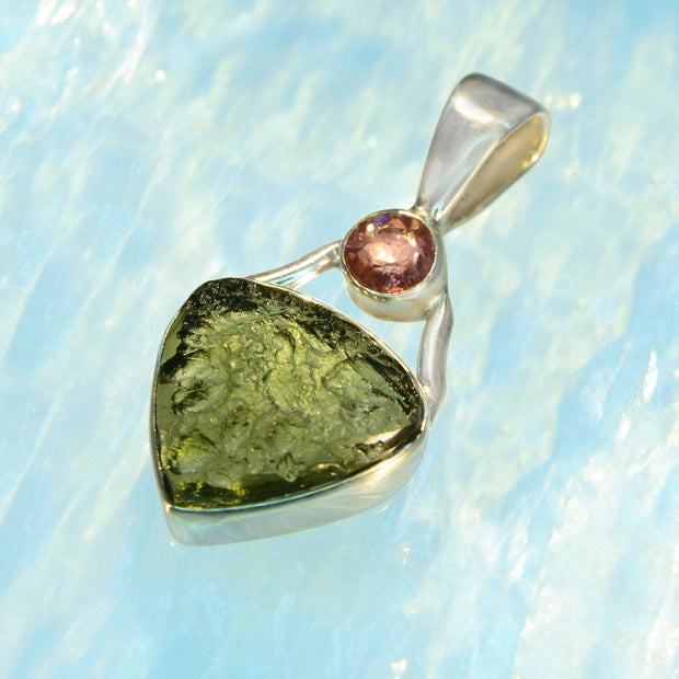 Beautiful Pink Tourmaline & Moldavite Pendant