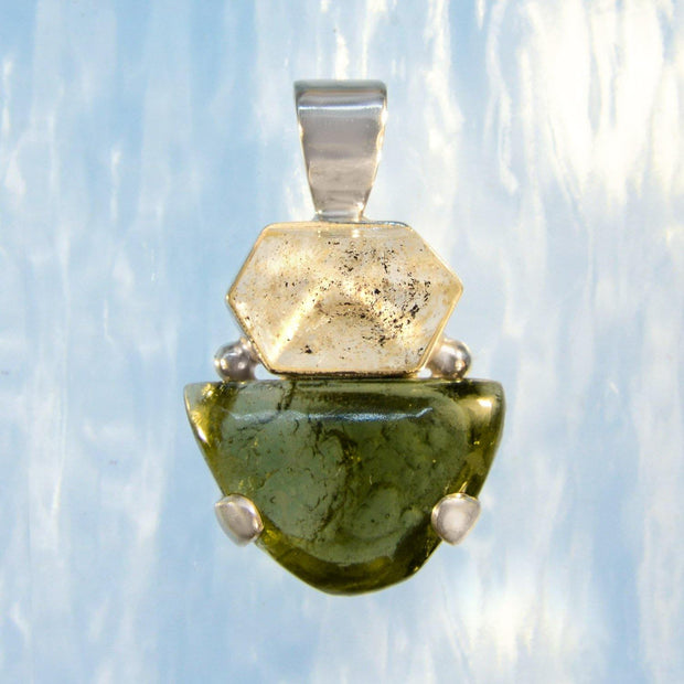 Beautiful Herkimer Diamond & Genuine Moldavite Pendant