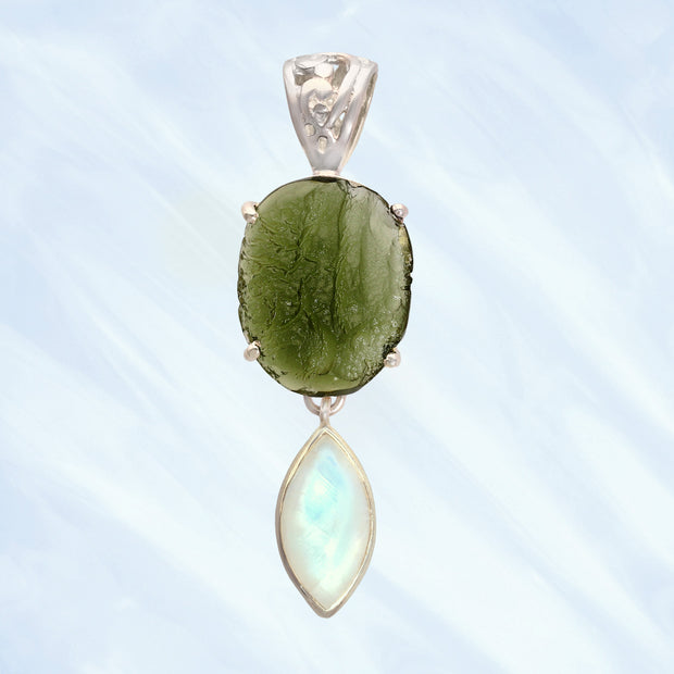 Genuine Moldavite & Rainbow Moonstone Pendant