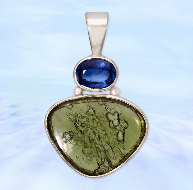 Blue Kyanite & Polished Moldavite Pendant