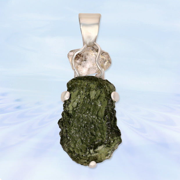 Herkimer Diamond & Authentic Czech Moldavite Pendant