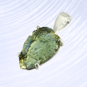 Pear Shaped Genuine Moldavite Wrap Pendant