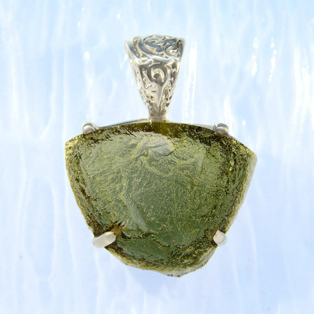 Beautiful Forest Green Moldavite Pendant