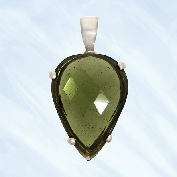 Faceted Genuine Moldavite Silver Pendant