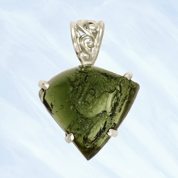 Unique Genuine Moldavite Pendant