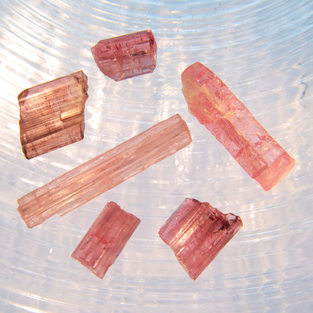 Set of 6 Pink Tourmaline Crystals 25 cts.