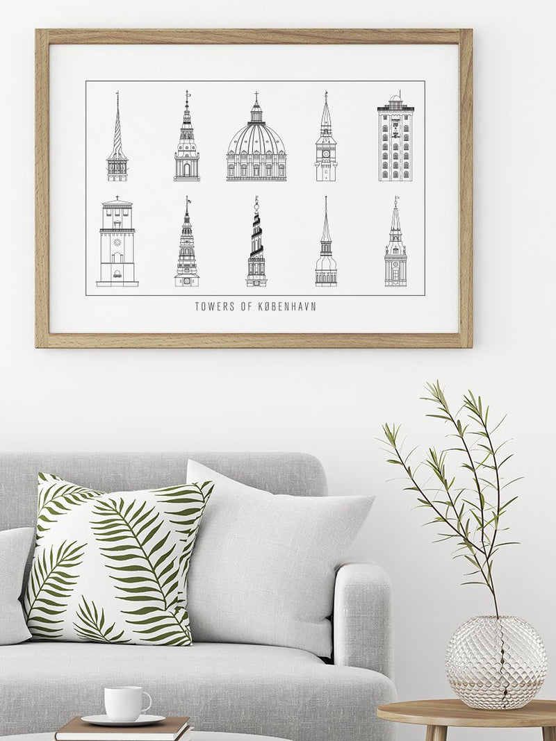 10 Towers of Copenhagen Outline - Poster