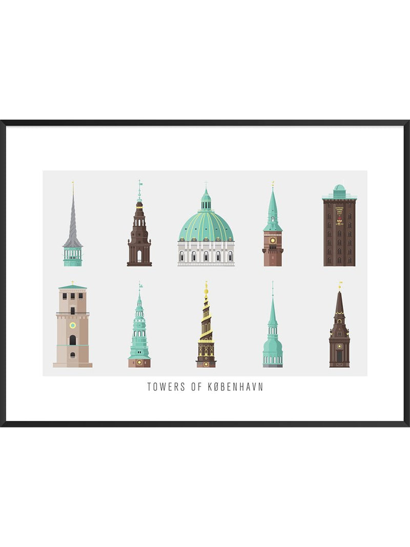 10 Towers of Copenhagen - Poster