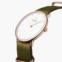 Native - BUNDLE White Dial Rose Gold | Olive Green Nylon / Brown Leather / Rose Gold Mesh Strap