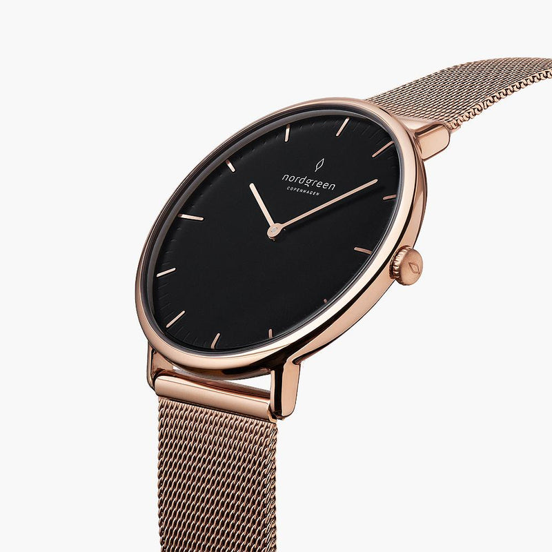 Native - BUNDLE Black Dial Rose Gold | Olive Green Nylon / Brown Leather / Rose Gold Mesh Strap