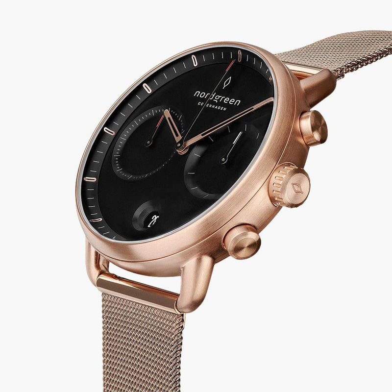 Pioneer - BUNDLE Black Dial Rose Gold | Brown Leather / Black Leather / Rose Gold Mesh Strap
