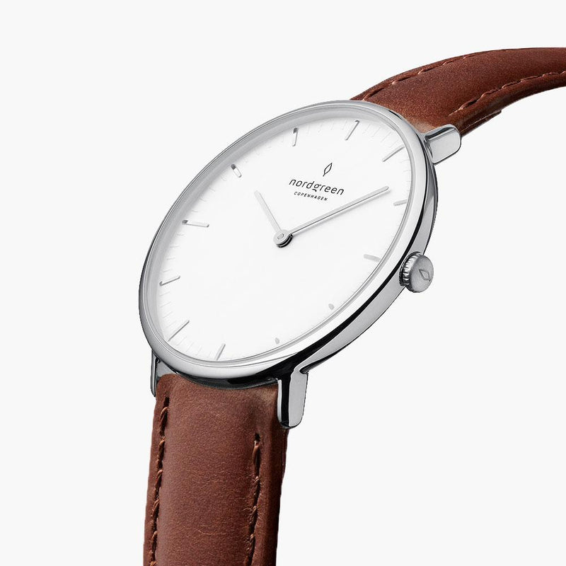 Native - BUNDLE White Dial Silver | Brown Leather / Black Leather / Silver Mesh Strap