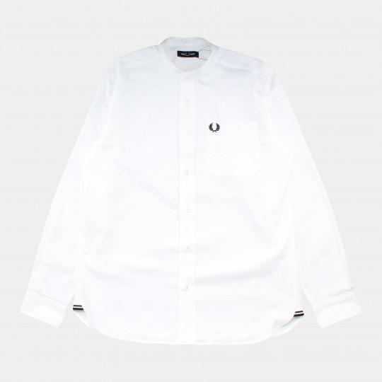 FRED PERRY SHIRT GRANDAD COLLAR WHITE