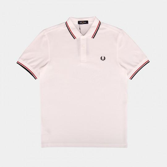 FRED PERRY POLO TWIN TIPPED WHITE