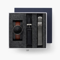 Native - BUNDLE Black Dial Gun Metal | Brown Leather / Black Leather / Gun Metal Mesh Strap
