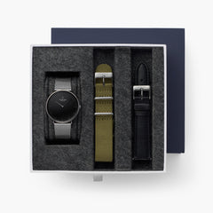 Native - BUNDLE Black Dial Gun Metal | Gun Metal Mesh / Olive Green Nylon / Black Leather Strap
