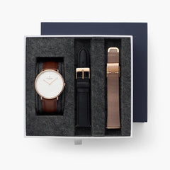 Native - BUNDLE White Dial Rose Gold | Brown Leather / Black Leather / Rose Gold Mesh Strap