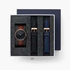 Native - BUNDLE Black Dial Rose Gold | Brown Leather / Black Leather / Navy Leather Strap