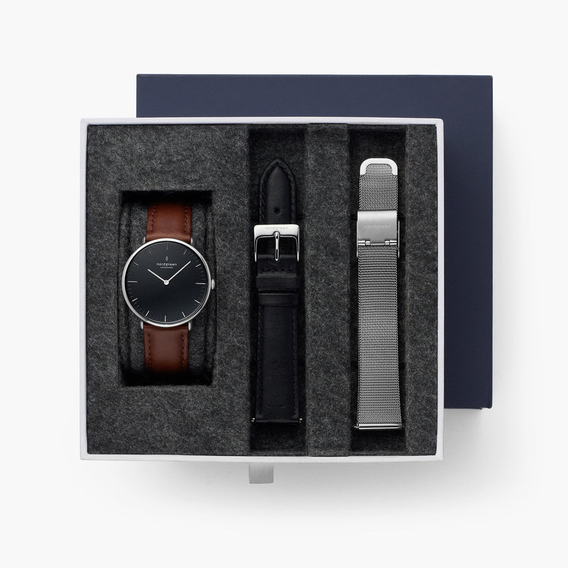 Native - BUNDLE Black Dial Silver | Brown Leather / Black Leather / Silver Mesh Strap