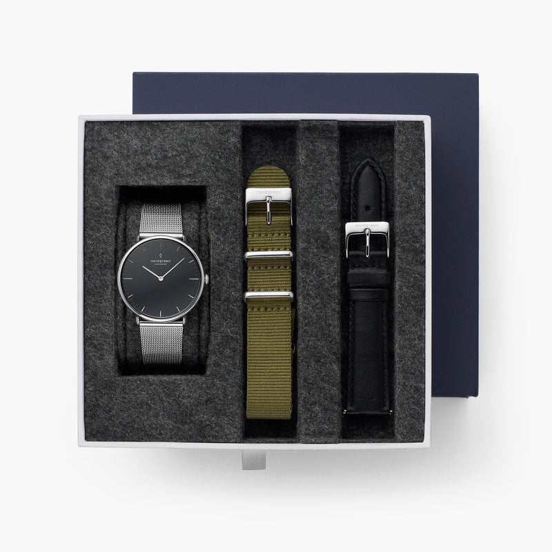 Native - BUNDLE Black Dial Silver | Silver Mesh / Olive Green Nylon / Black Leather Strap