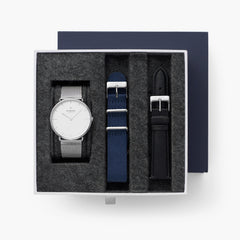 Native - BUNDLE White Dial Silver | Silver Mesh / Navy Nylon / Black Leather Strap