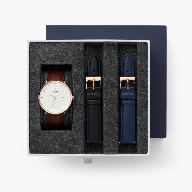 Philosopher - BUNDLE Rose Gold | Brown / Black / Navy Straps