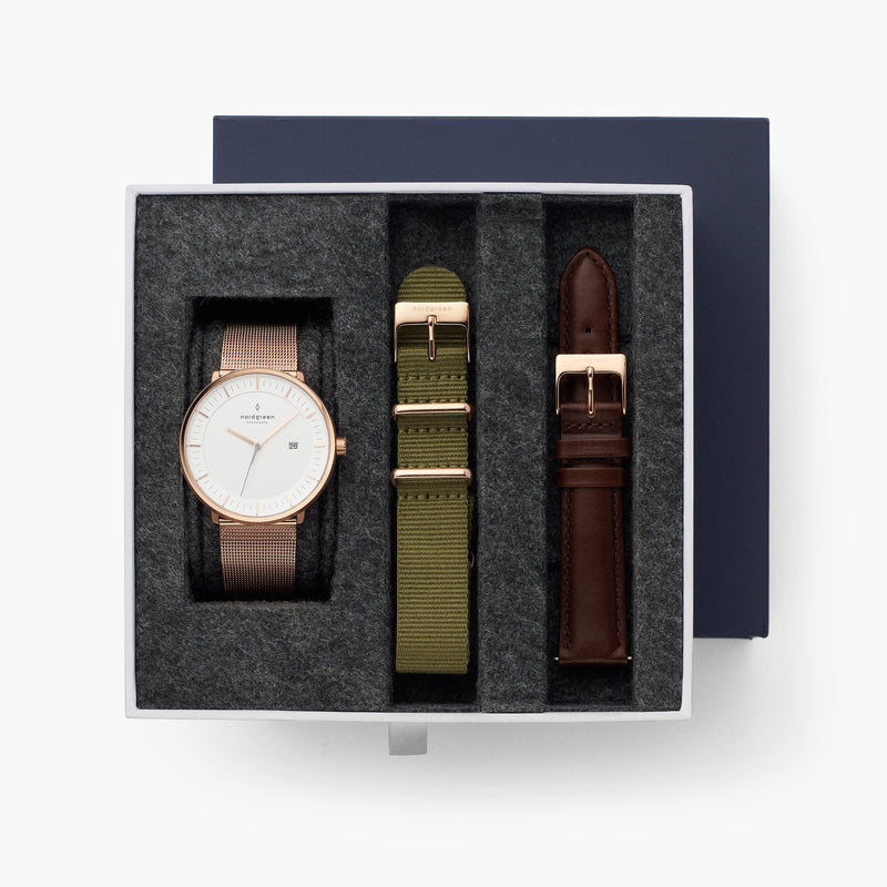Philosopher - BUNDLE Rose Gold | Mesh / Green Nylon Straps / Dark Brown