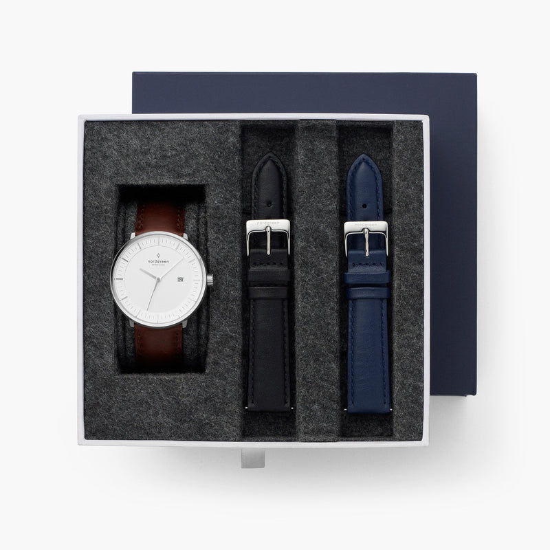 Philosopher - BUNDLE Silver | Dark Brown / Black / Navy Straps