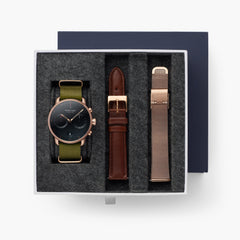 Pioneer - BUNDLE Black Dial Rose Gold | Olive Green Nylon / Brown Leather / Rose Gold Mesh Strap
