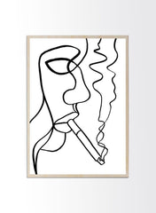 Smoking Woman Line Art