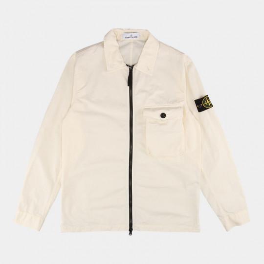 STONE ISLAND OVERSHIRT BRUSHED COTTON WHITE