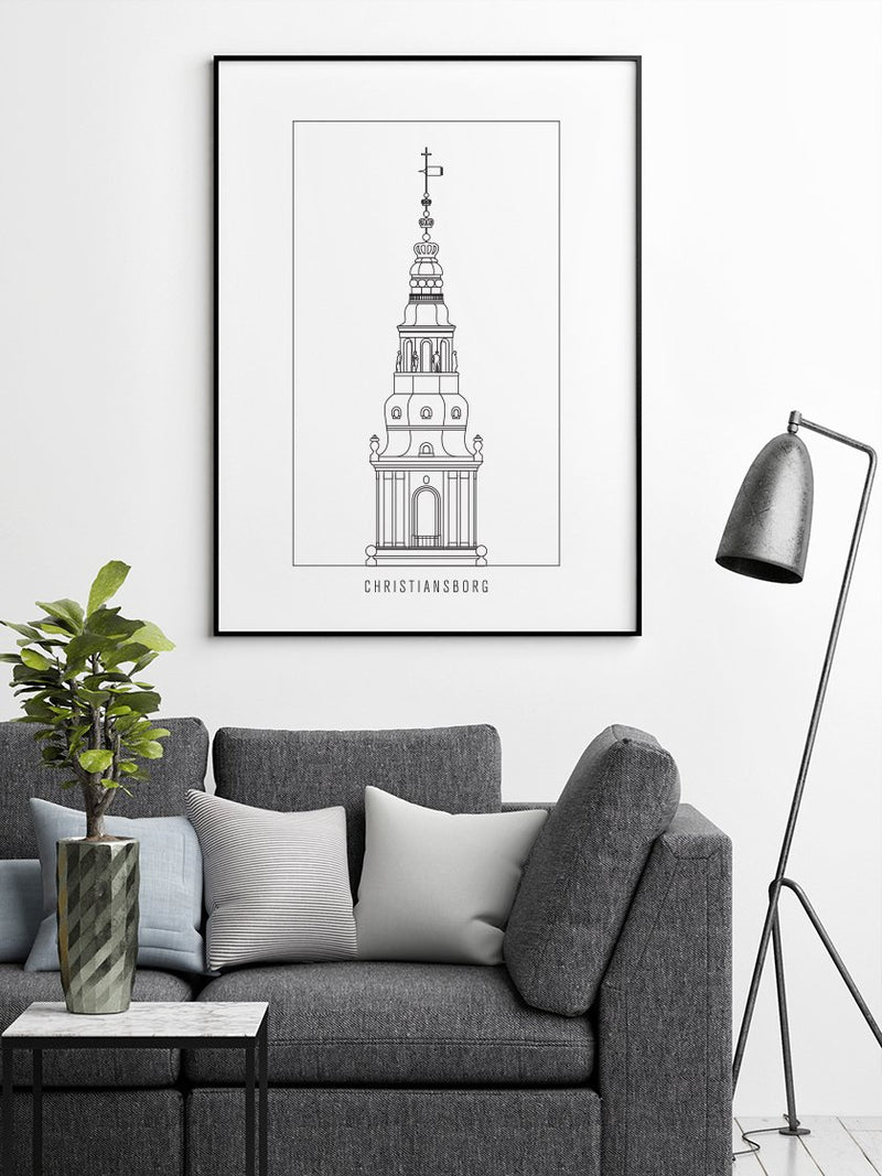 Christiansborg Slot Outline - Poster