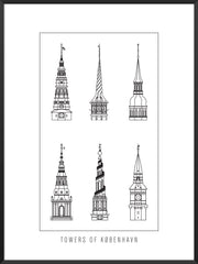 6 Towers Outline of Copenhagen - Poster