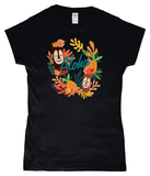 Aloha Tiki Bob Skinny Fit Tee Shirt in Black by Clumsy Kate
