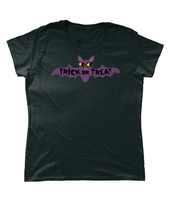 Retro Inspired Haloween Bat Trick or Treat Relaxed Fit Tee Shirt Size 6 to 22 in Black by Clumsy Kate