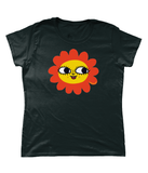Maybe Daisy Happy Face Relaxed fit T-Shirt in sizes 6 to 22 60s style Yellow and Orange by Clumsy Kate