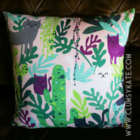 Kitty Cats and House Plants Illustrated Cushion Pillow in Faux Suede by Clumsy Kate