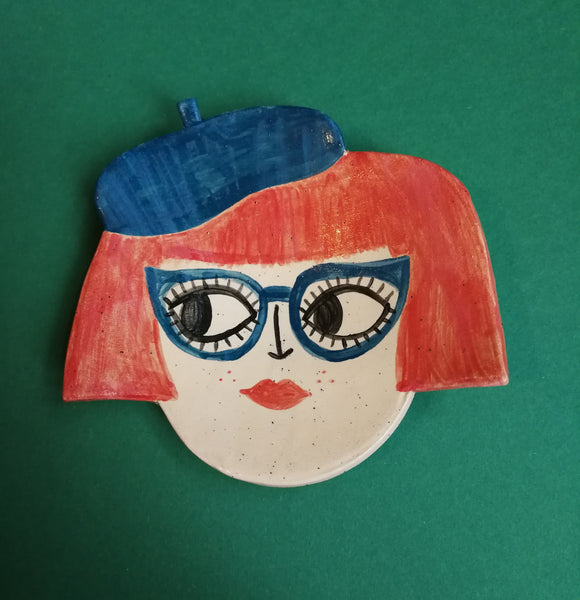 60s Beatnik Babe Ceramic Trinket Dish Handmade by Clumsy Kate