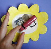 Maybe Daisy Sassy Face 60s style Ceramic Trinket Dish Handmade by Clumsy Kate