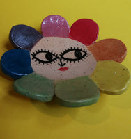 Rainbow Maybe Daisy Sassy Face Ceramic Trinket Dish Handmade by Clumsy Kate