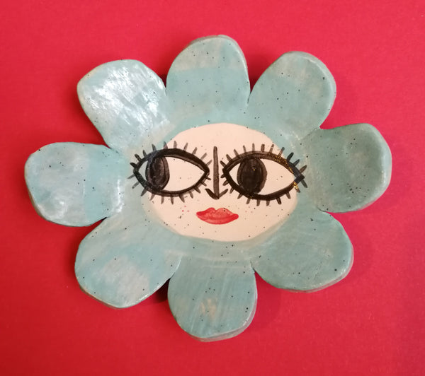 Flower Face 60s style Ceramic Trinket Dish Handmade by Clumsy Kate
