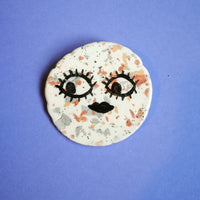 Moon Face Terrazzo Ceramic Brooch Handmade by Clumsy Kate