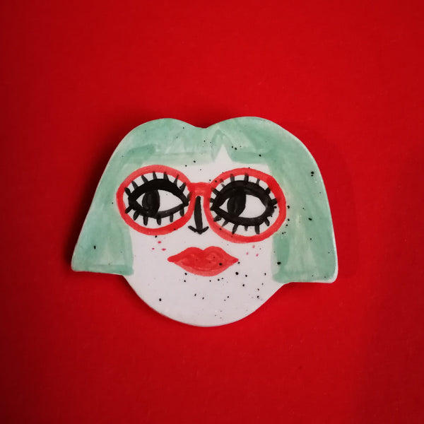 Bob and Glasses Babe Ceramic Brooch Handmade by Clumsy Kate
