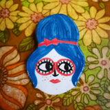 60s Beehive Babe Ceramic Brooch Handmade by Clumsy Kate