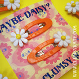 Maybe Daisy 60s Style Orange plastic Hair Clips by Clumsy Kate