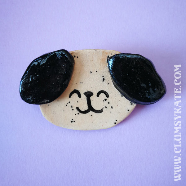Puppy Dog Face ceramic brooches Handmade by Clumsy Kate