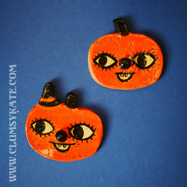 Vintage Style Pumpkin Face Ceramic Brooch Handmade by Clumsy Kate