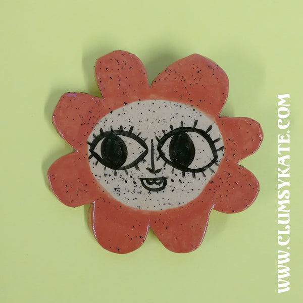 Maybe Daisy Flower Face ceramic brooches Handmade by Clumsy Kate