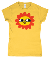 Maybe Daisy Happy Face Skinny fit T-Shirt in 60s style Yellow and Orange by Clumsy Kate
